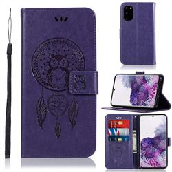 Intricate Embossing Owl Campanula Leather Wallet Case for Samsung Galaxy S20 / S11e - Purple