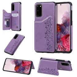 Yikatu Luxury Cute Cats Multifunction Magnetic Card Slots Stand Leather Back Cover for Samsung Galaxy S20 / S11e - Purple