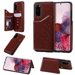Yikatu Luxury Cute Cats Multifunction Magnetic Card Slots Stand Leather Back Cover for Samsung Galaxy S20 / S11e - Brown