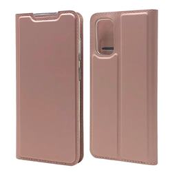 Ultra Slim Card Magnetic Automatic Suction Leather Wallet Case for Samsung Galaxy S20 / S11e - Rose Gold