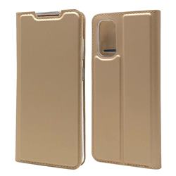 Ultra Slim Card Magnetic Automatic Suction Leather Wallet Case for Samsung Galaxy S20 / S11e - Champagne