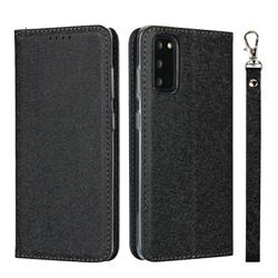 Ultra Slim Magnetic Automatic Suction Silk Lanyard Leather Flip Cover for Samsung Galaxy S20 / S11e - Black