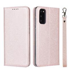 Ultra Slim Magnetic Automatic Suction Silk Lanyard Leather Flip Cover for Samsung Galaxy S20 / S11e - Rose Gold