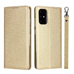 Ultra Slim Magnetic Automatic Suction Silk Lanyard Leather Flip Cover for Samsung Galaxy S20 / S11e - Golden