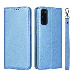 Ultra Slim Magnetic Automatic Suction Silk Lanyard Leather Flip Cover for Samsung Galaxy S20 / S11e - Sky Blue