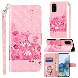 Pink Bear 3D Leather Phone Holster Wallet Case for Samsung Galaxy S20 / S11e