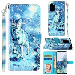 Snow Wolf 3D Leather Phone Holster Wallet Case for Samsung Galaxy S20 / S11e