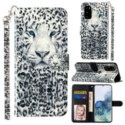 White Leopard 3D Leather Phone Holster Wallet Case for Samsung Galaxy S20 / S11e