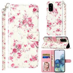 Rambler Rose Flower 3D Leather Phone Holster Wallet Case for Samsung Galaxy S20 / S11e