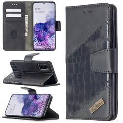 BinfenColor BF04 Color Block Stitching Crocodile Leather Case Cover for Samsung Galaxy S20 / S11e - Black