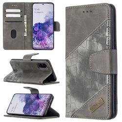 BinfenColor BF04 Color Block Stitching Crocodile Leather Case Cover for Samsung Galaxy S20 / S11e - Gray