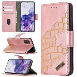 BinfenColor BF04 Color Block Stitching Crocodile Leather Case Cover for Samsung Galaxy S20 / S11e - Rose Gold