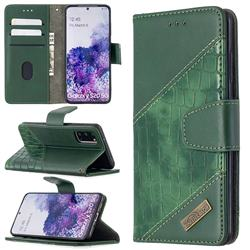 BinfenColor BF04 Color Block Stitching Crocodile Leather Case Cover for Samsung Galaxy S20 / S11e - Green