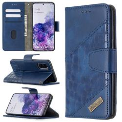 BinfenColor BF04 Color Block Stitching Crocodile Leather Case Cover for Samsung Galaxy S20 / S11e - Blue