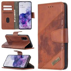 BinfenColor BF04 Color Block Stitching Crocodile Leather Case Cover for Samsung Galaxy S20 / S11e - Brown