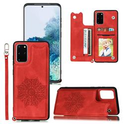 Luxury Mandala Multi-function Magnetic Card Slots Stand Leather Back Cover for Samsung Galaxy S20 / S11e - Red