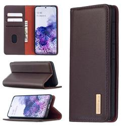 Binfen Color BF06 Luxury Classic Genuine Leather Detachable Magnet Holster Cover for Samsung Galaxy S20 / S11e - Dark Brown