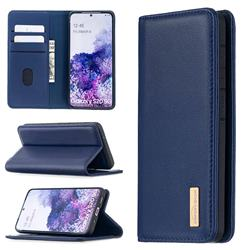 Binfen Color BF06 Luxury Classic Genuine Leather Detachable Magnet Holster Cover for Samsung Galaxy S20 / S11e - Blue