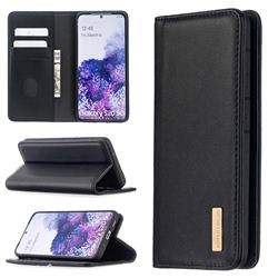 Binfen Color BF06 Luxury Classic Genuine Leather Detachable Magnet Holster Cover for Samsung Galaxy S20 / S11e - Black