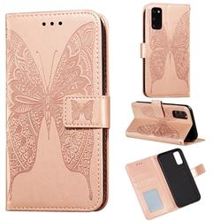 Intricate Embossing Vivid Butterfly Leather Wallet Case for Samsung Galaxy S20 / S11e - Rose Gold