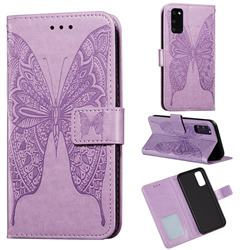 Intricate Embossing Vivid Butterfly Leather Wallet Case for Samsung Galaxy S20 / S11e - Purple