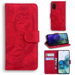 Intricate Embossing Tiger Face Leather Wallet Case for Samsung Galaxy S20 / S11e - Red