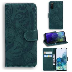 Intricate Embossing Tiger Face Leather Wallet Case for Samsung Galaxy S20 / S11e - Green