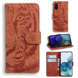 Intricate Embossing Tiger Face Leather Wallet Case for Samsung Galaxy S20 / S11e - Brown