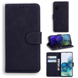 Retro Classic Skin Feel Leather Wallet Phone Case for Samsung Galaxy S20 / S11e - Black