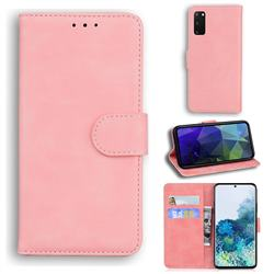 Retro Classic Skin Feel Leather Wallet Phone Case for Samsung Galaxy S20 / S11e - Pink