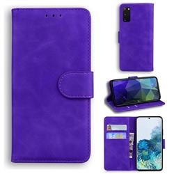 Retro Classic Skin Feel Leather Wallet Phone Case for Samsung Galaxy S20 / S11e - Purple