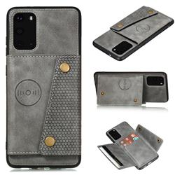 Retro Multifunction Card Slots Stand Leather Coated Phone Back Cover for Samsung Galaxy S20 - Gray
