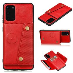 Retro Multifunction Card Slots Stand Leather Coated Phone Back Cover for Samsung Galaxy S20 - Red