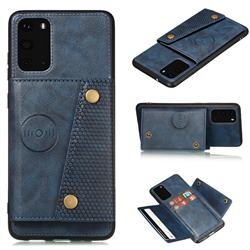 Retro Multifunction Card Slots Stand Leather Coated Phone Back Cover for Samsung Galaxy S20 - Blue