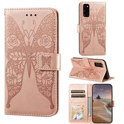 Intricate Embossing Rose Flower Butterfly Leather Wallet Case for Samsung Galaxy S20 - Rose Gold