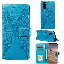 Intricate Embossing Rose Flower Butterfly Leather Wallet Case for Samsung Galaxy S20 - Blue
