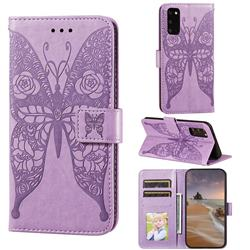 Intricate Embossing Rose Flower Butterfly Leather Wallet Case for Samsung Galaxy S20 - Purple