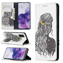 Girl with Long Hair Slim Magnetic Attraction Wallet Flip Cover for Samsung Galaxy S20
