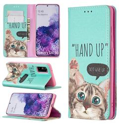Hand Up Cat Slim Magnetic Attraction Wallet Flip Cover for Samsung Galaxy S20