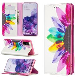 Sun Flower Slim Magnetic Attraction Wallet Flip Cover for Samsung Galaxy S20