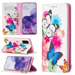 Flying Butterflies Slim Magnetic Attraction Wallet Flip Cover for Samsung Galaxy S20