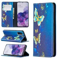 Gold Butterfly Slim Magnetic Attraction Wallet Flip Cover for Samsung Galaxy S20