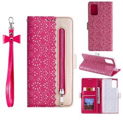 Luxury Lace Zipper Stitching Leather Phone Wallet Case for Samsung Galaxy S20 - Rose