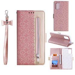 Luxury Lace Zipper Stitching Leather Phone Wallet Case for Samsung Galaxy S20 - Pink