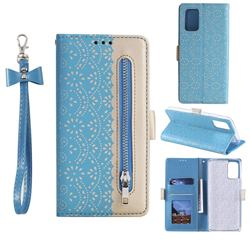 Luxury Lace Zipper Stitching Leather Phone Wallet Case for Samsung Galaxy S20 - Blue
