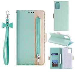 Luxury Lace Zipper Stitching Leather Phone Wallet Case for Samsung Galaxy S20 - Green