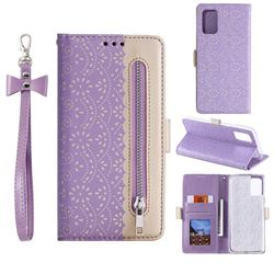 Luxury Lace Zipper Stitching Leather Phone Wallet Case for Samsung Galaxy S20 - Purple