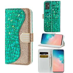 Glitter Diamond Buckle Laser Stitching Leather Wallet Phone Case for Samsung Galaxy S20 - Green