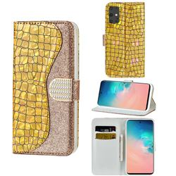 Glitter Diamond Buckle Laser Stitching Leather Wallet Phone Case for Samsung Galaxy S20 - Gold