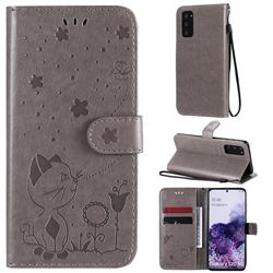 Embossing Bee and Cat Leather Wallet Case for Samsung Galaxy S20 - Gray